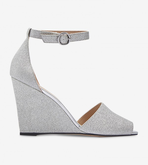Glitter Peep Toe Wedges - Silver