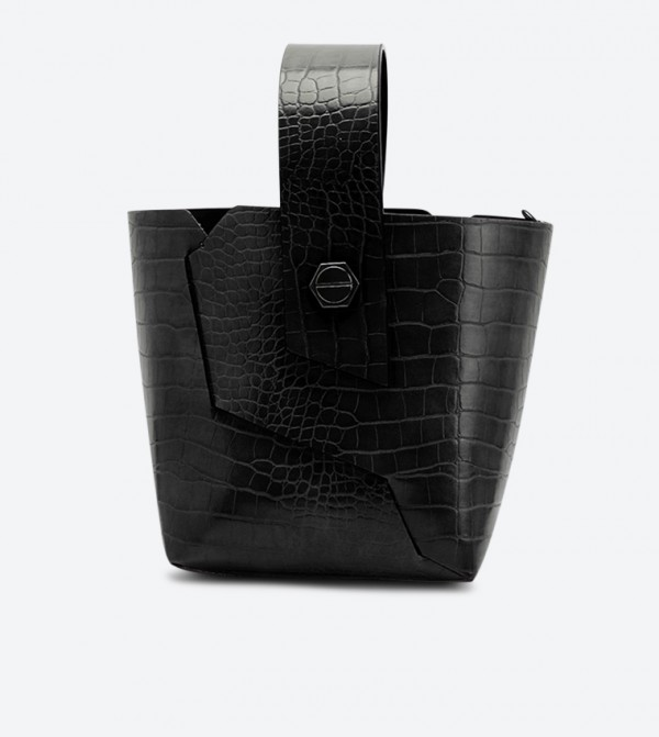 حقيبة بنمط جلد التمساح لون أسود