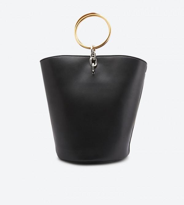 حقيبة يد بمقبض دائري لون أسود