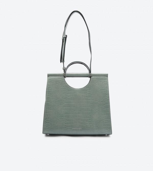 حقيبة يد بنمط جلد التمساح لون أخضر