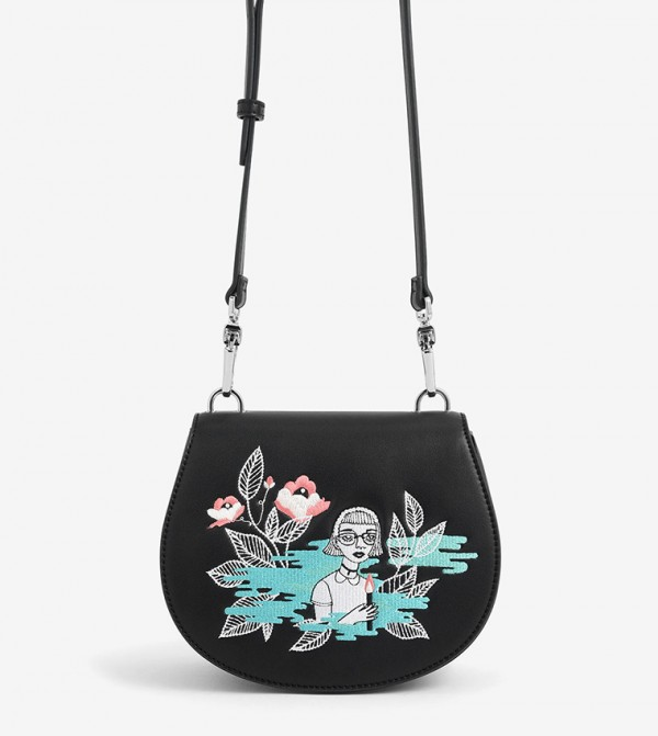 CHARLES & KEITH By Teeteeheehee: Embroidered Crossbody Bag - Black