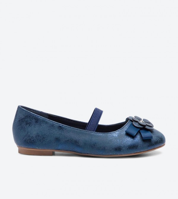 Bow and Floral Details Round Toe Ballerinas - Blue