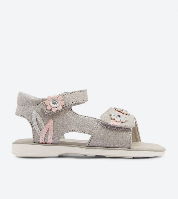Flower Details Velcro Closure Strap Sandals - Silver