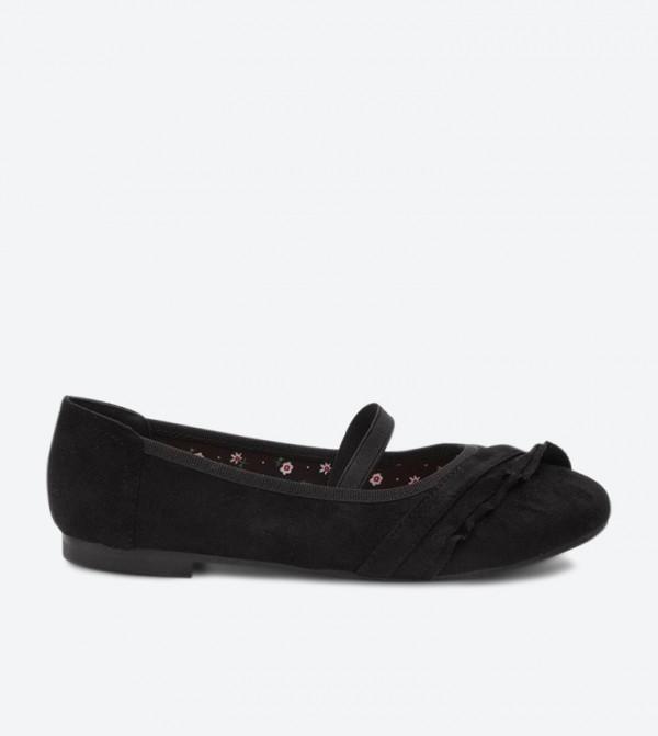 Round Toe Elastic Strap Ballerinas - Black