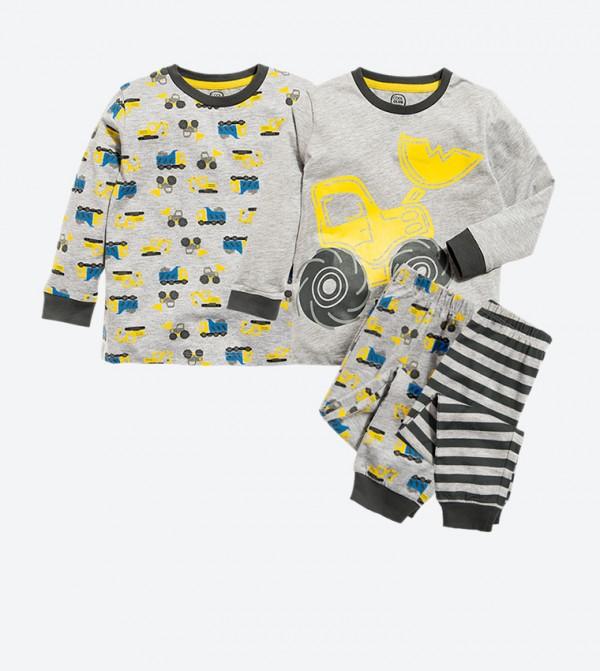 Tractors Printed Long Sleeve T-Shirt and Pants Pajamas Set (4 Pcs) - Grey