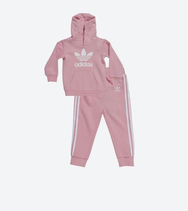 Long Sleeve Trefoil Printed Hoodie and Track Pant Set Pink D96069