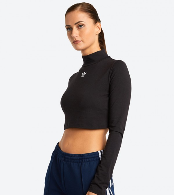 Details about adidas Originals DH2763 Womens Turtle Neck Long Sleeve Crop Top M