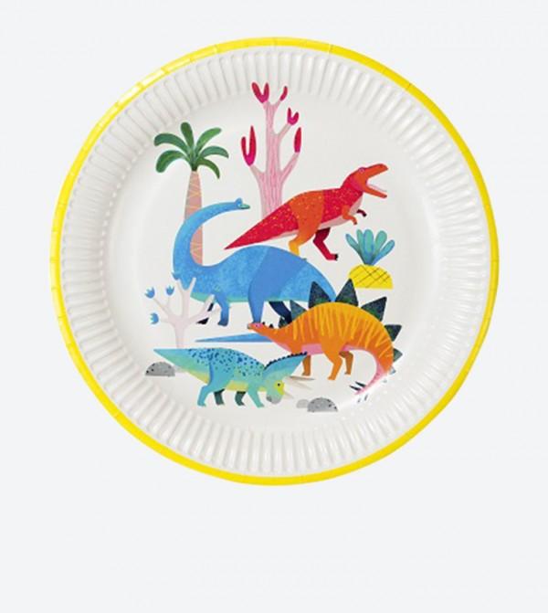 أطباق بشكل ديناصور (8 قطع) لون أزرق