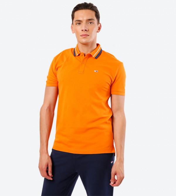Short Sleeve Classic Collar 2-Button Placket Details Polo Shirt - Orange