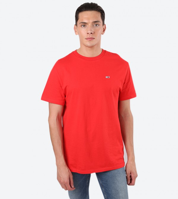 Short Sleeve Regular Fit Round Neck T-Shirt - Red
