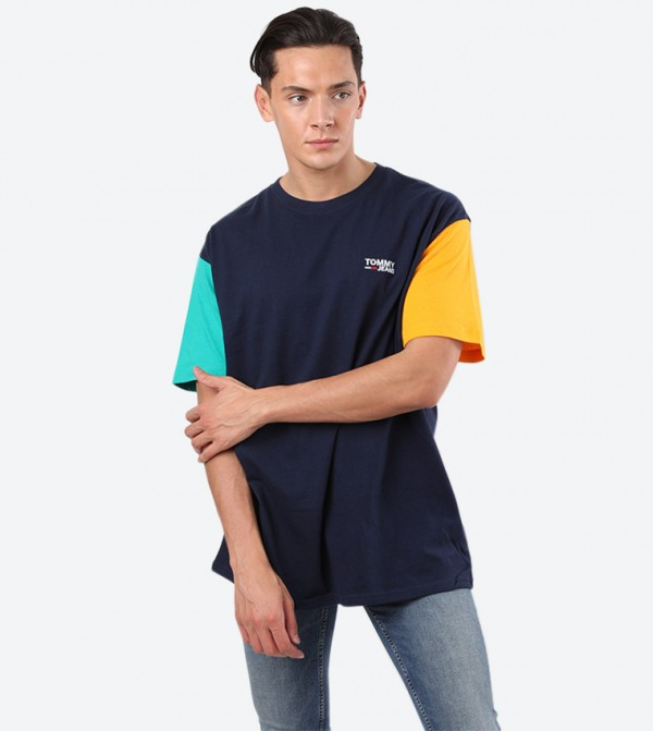 Colorblock Round Neck Short Sleeve Casual T-Shirt - Blue