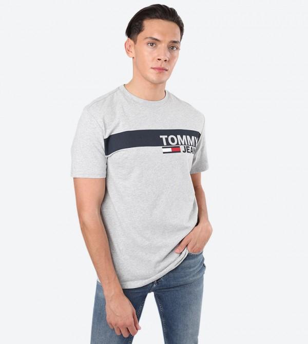 Essential Box Logo Printed Round Neck T-Shirt - Grey