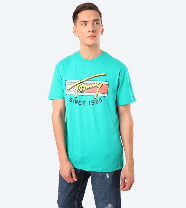 Neon Script Short Sleeve Crew Neck T-Shirt - Green