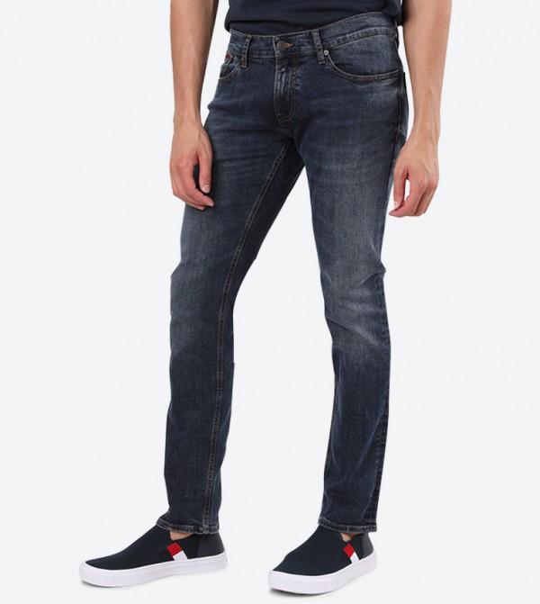 5-Pocket Closure Regular Fit Mid-Rise Stretchable Jeans - Blue