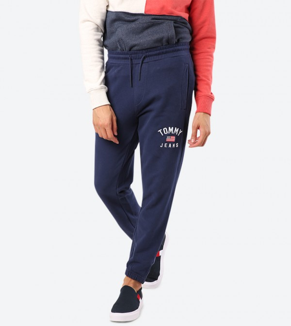 Drawstring Elasticated Waistband Side Pockets Joggers - Navy