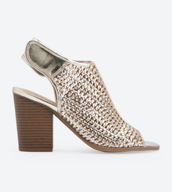 Pelle Woven Peep Toe Sandals - Gold DSW
