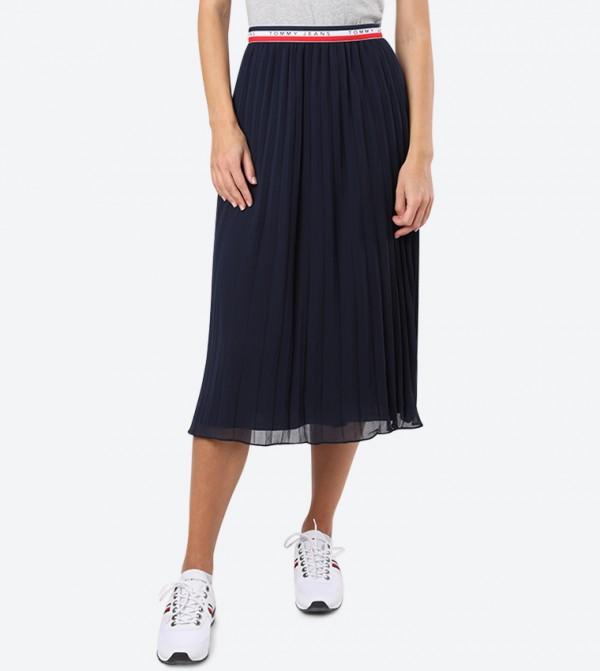 Knife Pleated Pattern Elasticated Band Midi Skirt - Navy