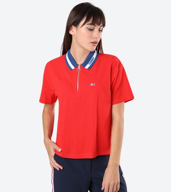 Brand Logo Classic Collar Zip Closure Polo Shirt - Red
