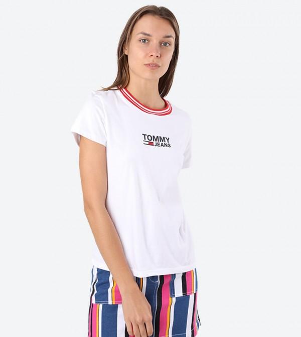 Rib Stripe Round Neck T-Shirt - White