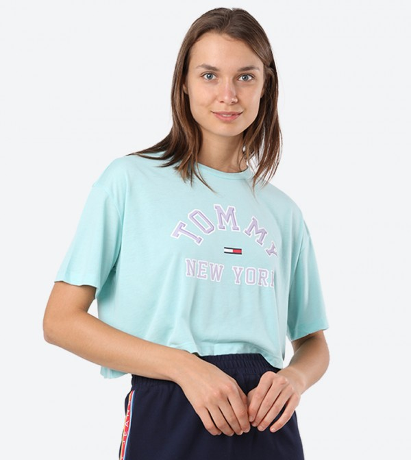 New York Printed Short Sleeve Round Neck Top - Aqua