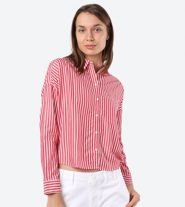 Fluid Cropped Boxy Strip Printed Long Sleeve Shirt - Red