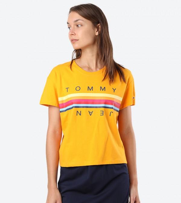 Line Logo Printed Round Neck T-Shirt - Yellow