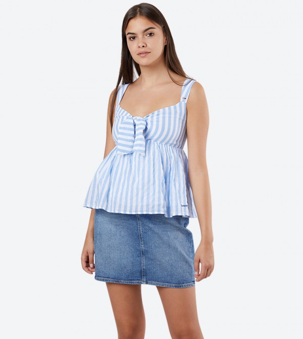 Summer Bow Tie Sleeveless Stylish Top - Blue