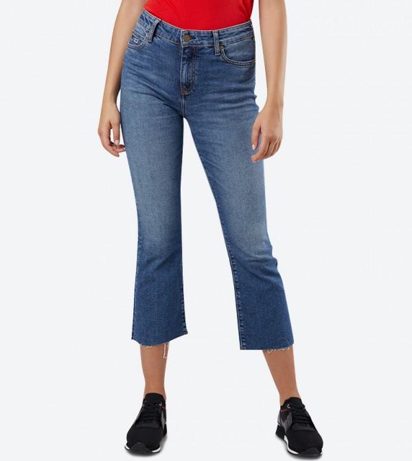 Crop Flare 5-Pocket Closure Fit Jeans - Blue