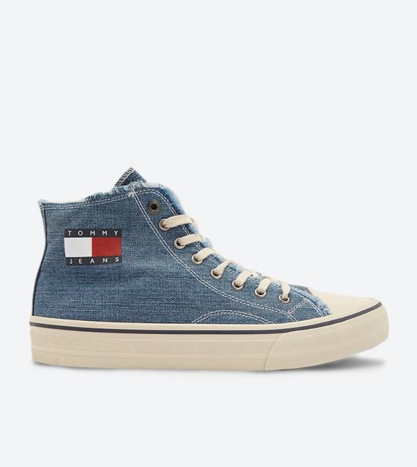 حذاء بساق مرتفع وأربطة للإغلاق لون أزرق