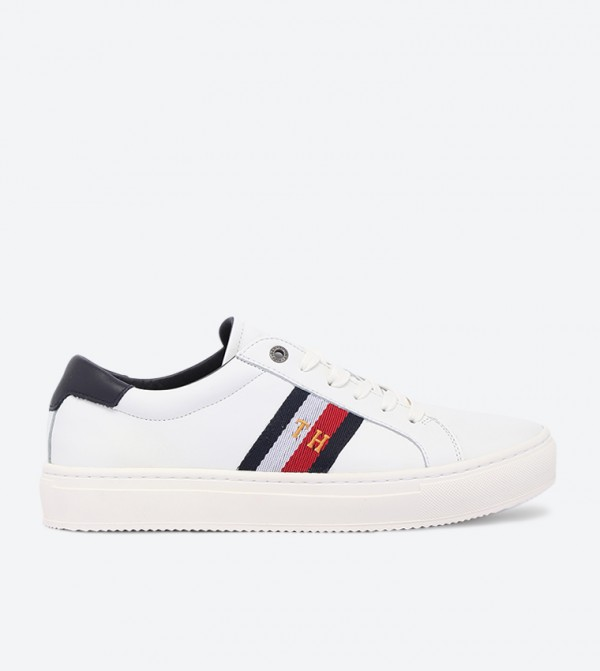 Corporate Lace Up Closure Flat Heel Sneakers - White