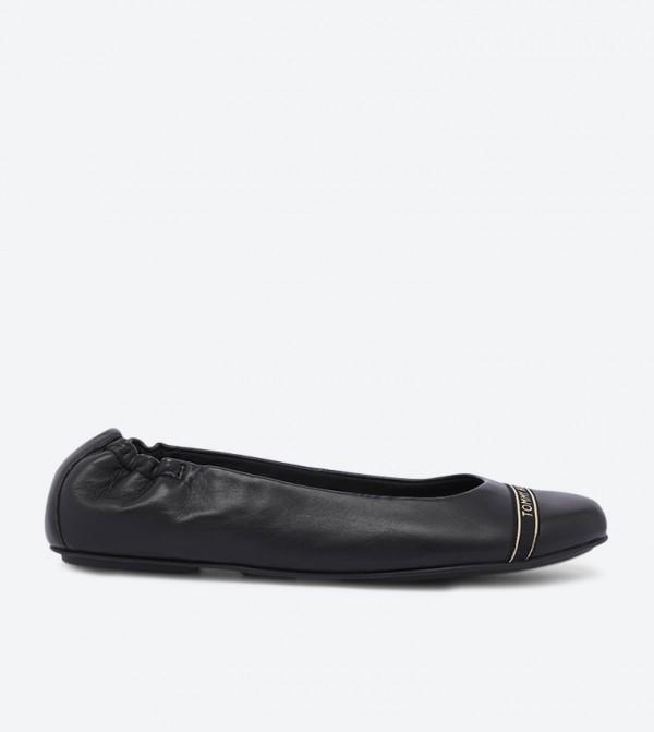 Feminine Satin Detailed Round Toe Ballerinas - Black