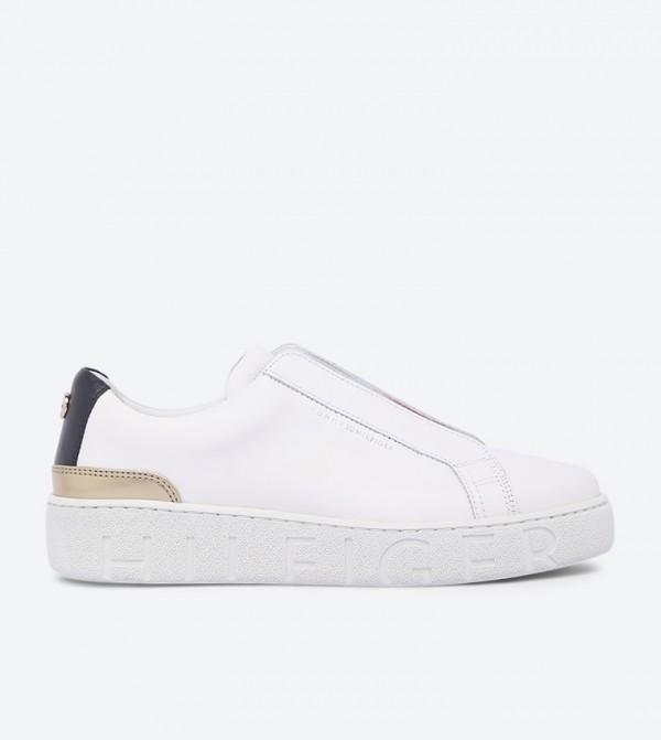 Corporate Round Toe Stylish Slip-Ons - White