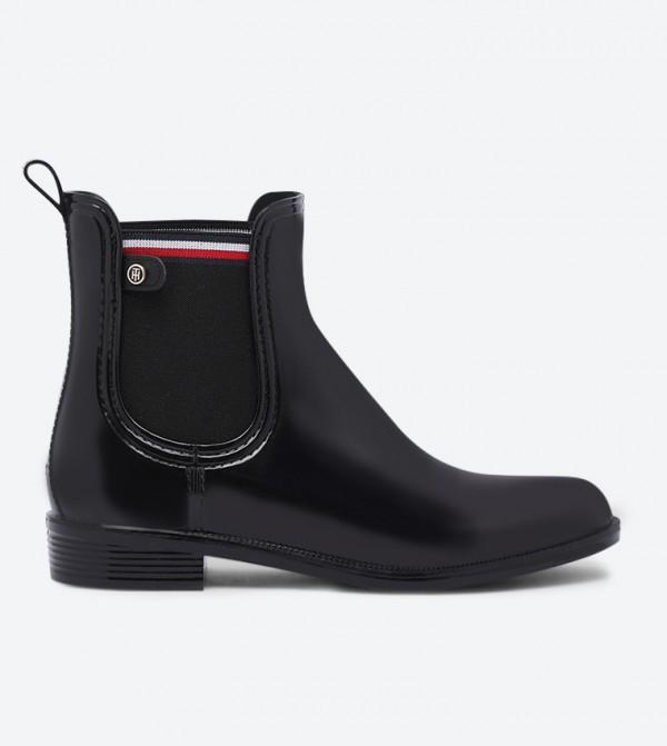 Color Block Almond Toe Rainboot - Black