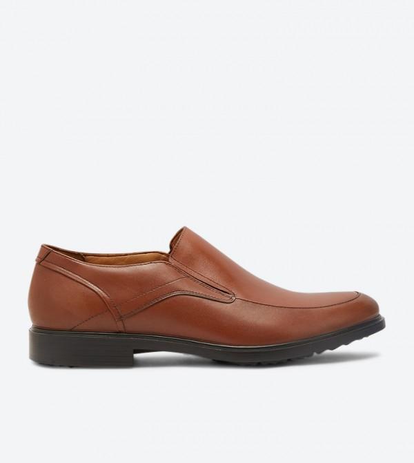 Turner Mt Block Heel Almond Toe Slip-Ons - Tan