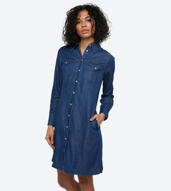 فستان بأكمام طويلة لون أزرق