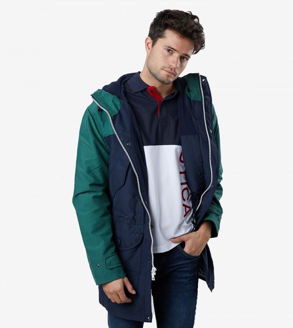 Long Sleeve Hooded Woven Parka Jacket - Blue