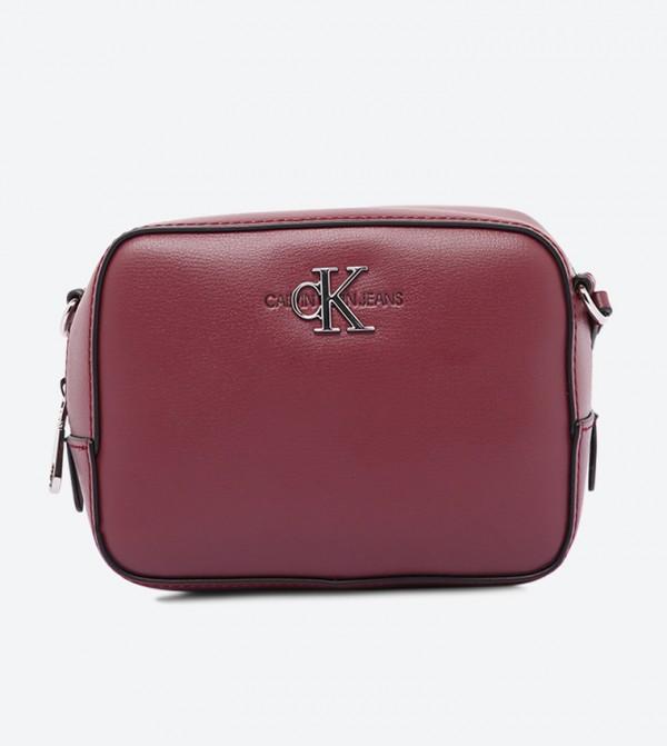 حقيبة كاميرا مزيّنة بالشعار مع سحاب للإغلاق أحمر