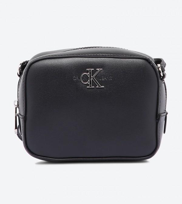حقيبة كاميرا مزيّنة بالشعار مع سحاب للإغلاق أسود