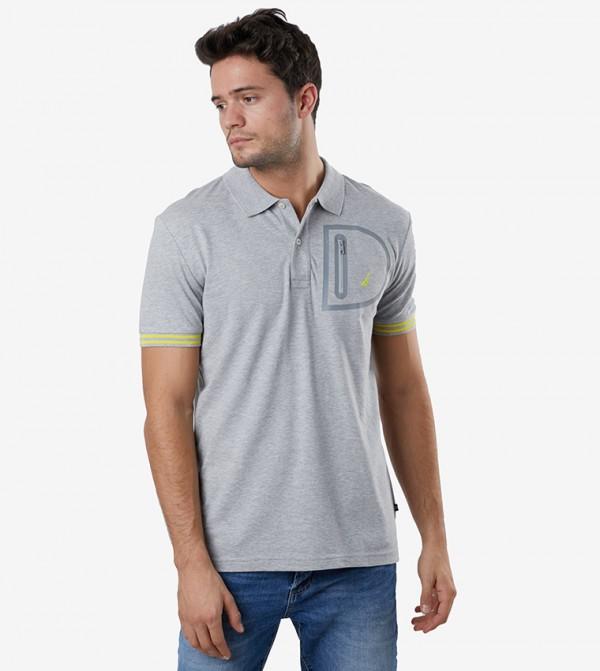 Short Sleeve Polo Neck T-Shirt - Grey