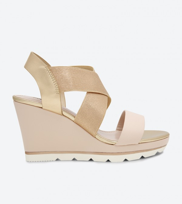 Rose Cross Wedge Sandals Kalifornia Cris Gold Strap rWdoeCxB