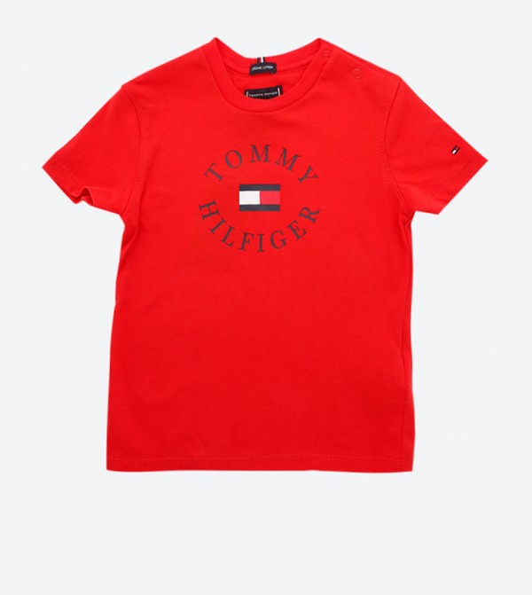 Short Sleeve Essential Brand Printed T-Shirt - Red