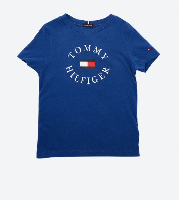 Short Sleeve Essential Brand Printed T-Shirt - Blue