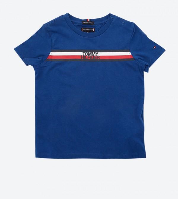Brand Name Printed Crew Neck T-Shirt - Blue