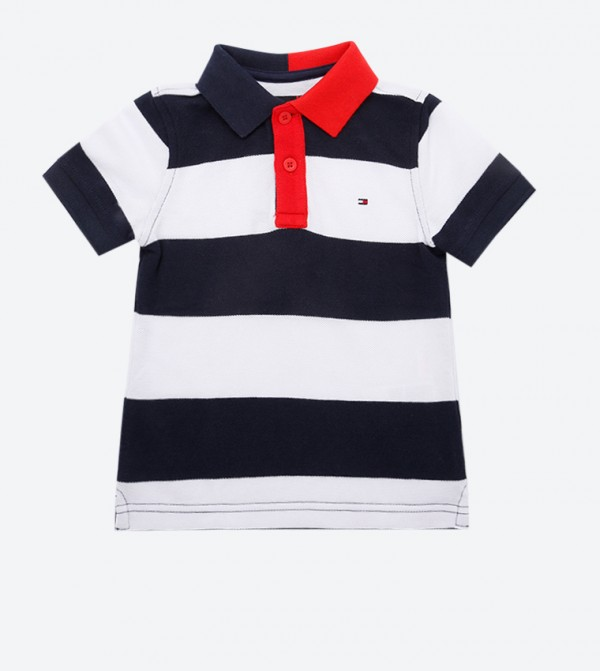 Classic Collar Embroidered Logo Polo Shirt - Multi