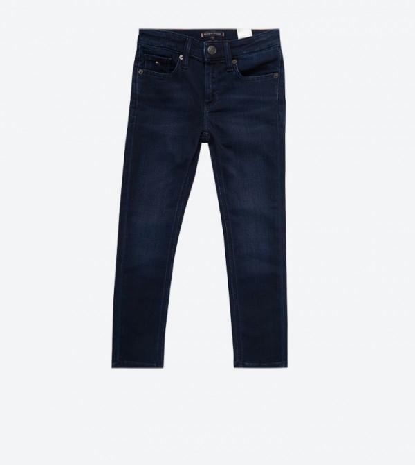 بنطال جينز بخمس جيوب وسحاب للإغلاق لون كحلي