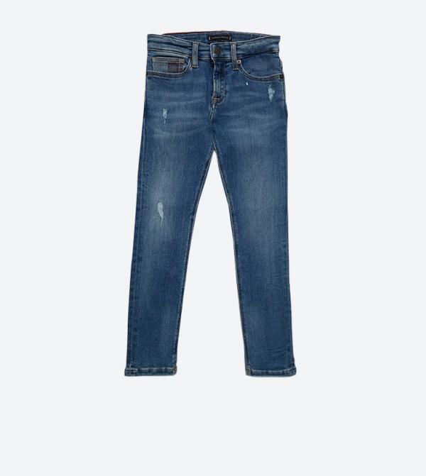 بنطال جينز بخمس جيوب وسحاب للإغلاق لون أزرق