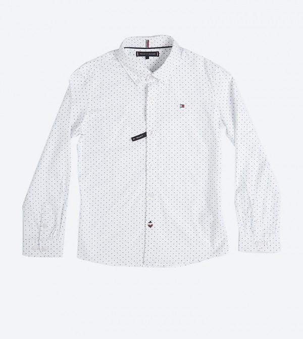 قميص بأكمام طويلة مزيّن بشعار تومي لون أبيض