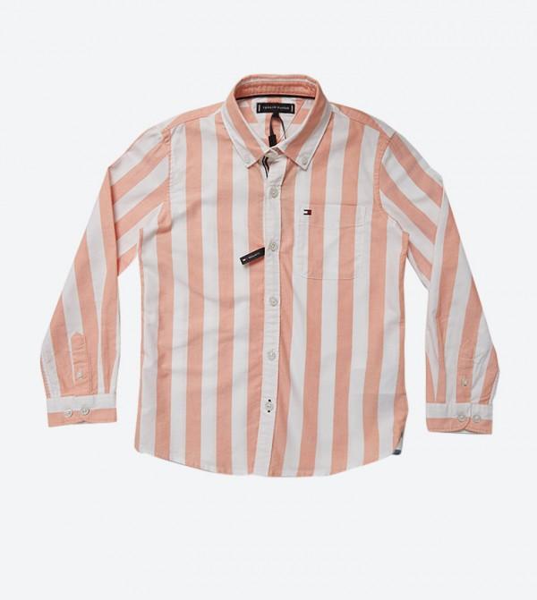 قميص مخطط طويل الأكمام بلون برتقالي