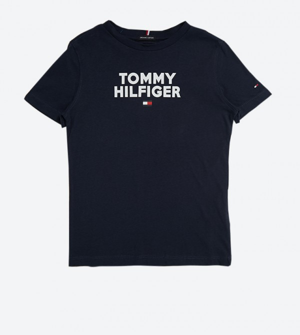 تي شيرت مطبّع بشعار تومي بأكمام قصيرة لون كحلي