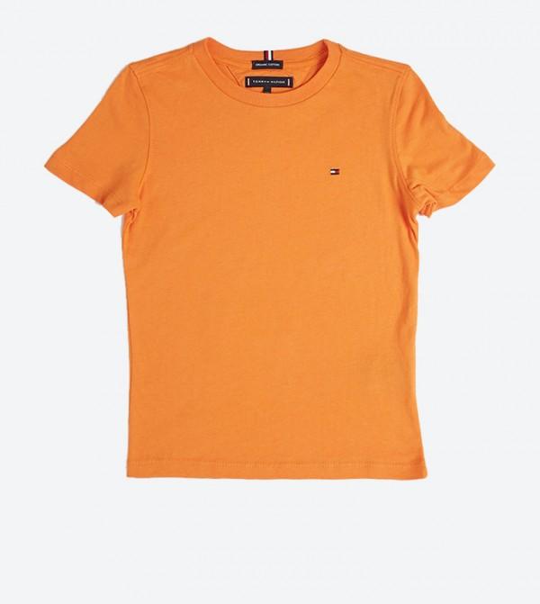 تي شيرت مزيّن بشعار تومي بأكمام قصيرة لون برتقالي